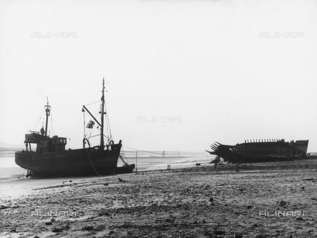 Wrecks of boats on the beach of Etaples