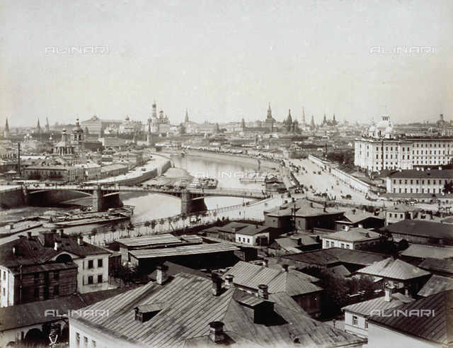 Panorama of the city of Moscow. In the background the Kremlin and other imposing buildings