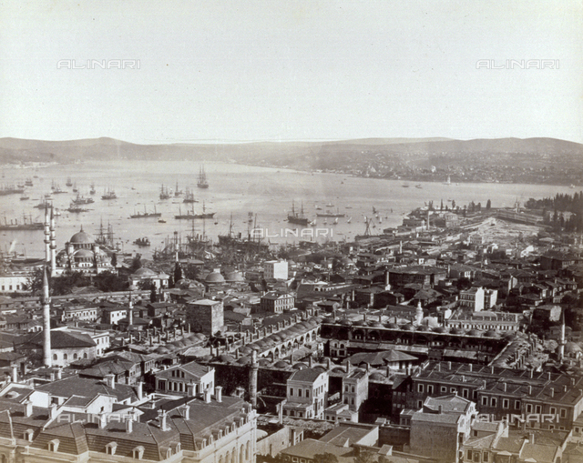 Istanbul, with the sea and ships and sailboats in the background