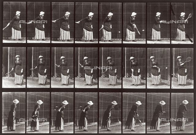 """Animal Locomotion"" (plate 297): sequence with a woman playing tennis"
