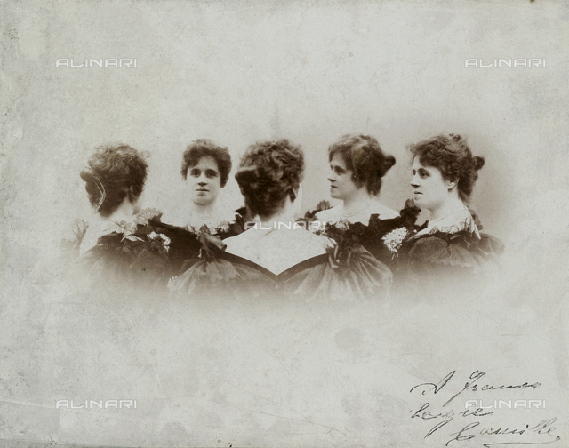 Multiple half-length portrait, in five poses, of the same woman