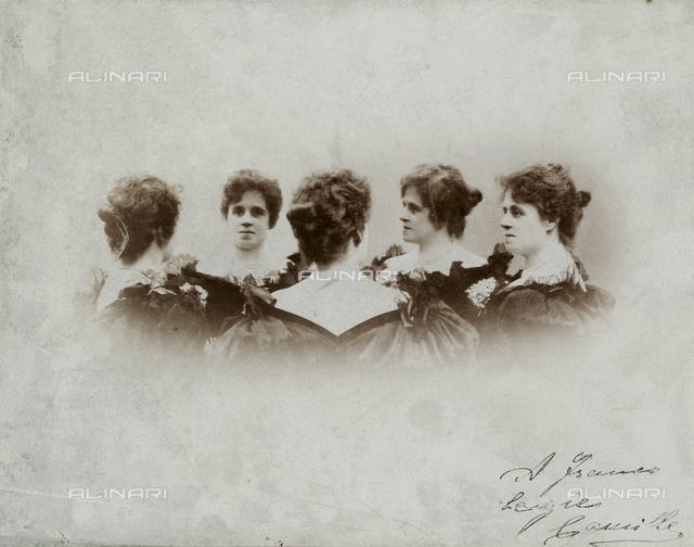 Ritratto multiplo a mezzobusto, in cinque pose, della medesima donna