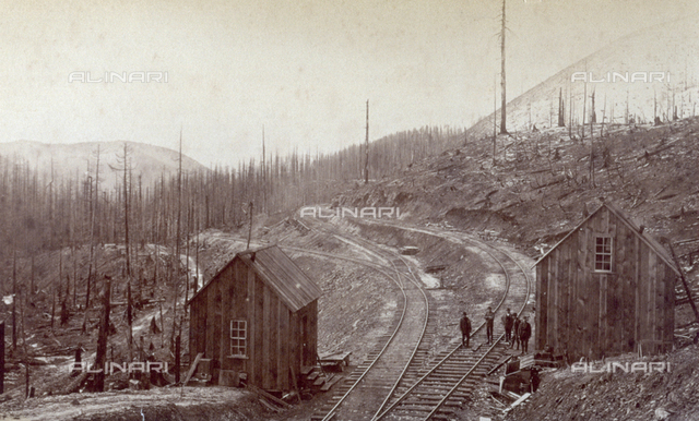 Mountain landscape: in the background, dense groves of firs; in the foreground, two wooden sheds, set on either side of railroad tracks. On the tracks, a group of men