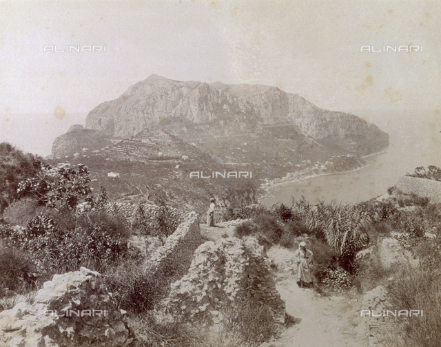 Monte Solaro on the Isle of Capri; two women in traditional dress are included in the landscape