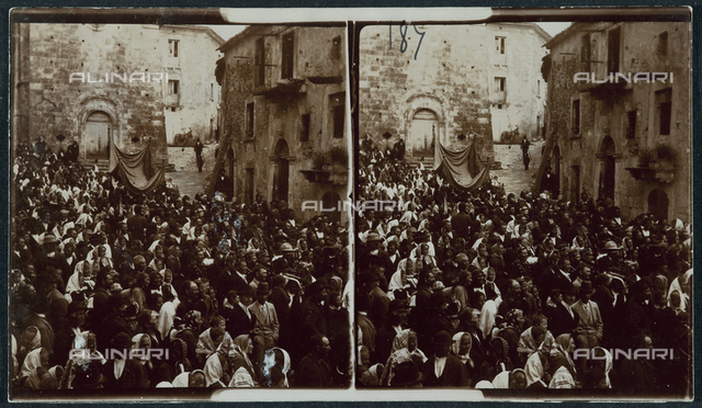 Crowd of people taking part in a religious festival in a town in Abruzzo, Italy