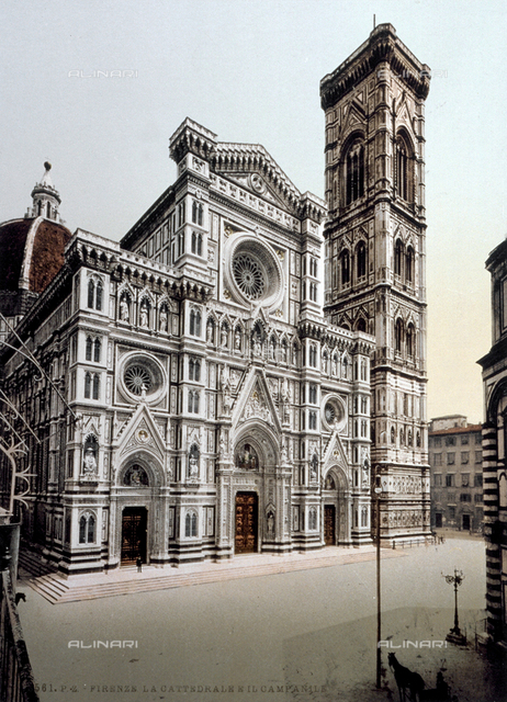 """Bell tower of Cathedral of Santa Maria del Fiore, called """"Campanile di Giotto"""", Florence"""