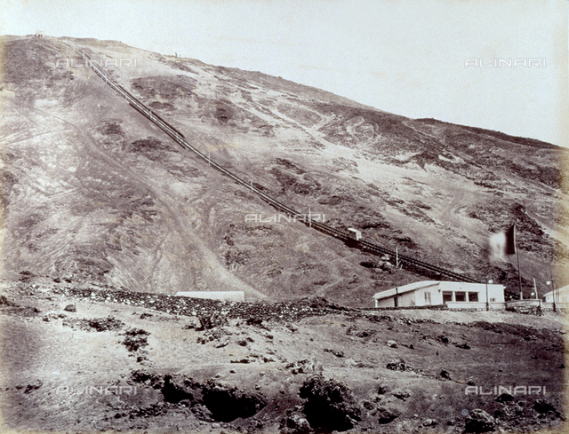 View of the funicular station on Vesuvius