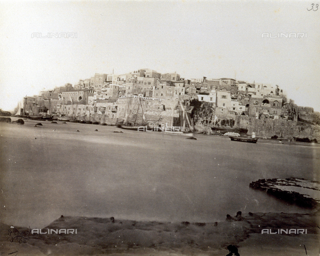 Panorama of the city of Jaffa, with fishing boats in the foreground