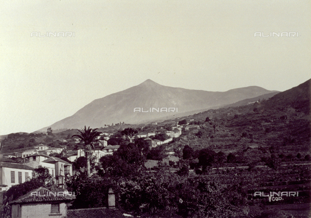 Panorama of Tenerife. In the foreground, houses