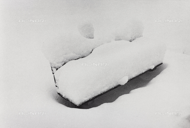 Bench in the snow, Engadine