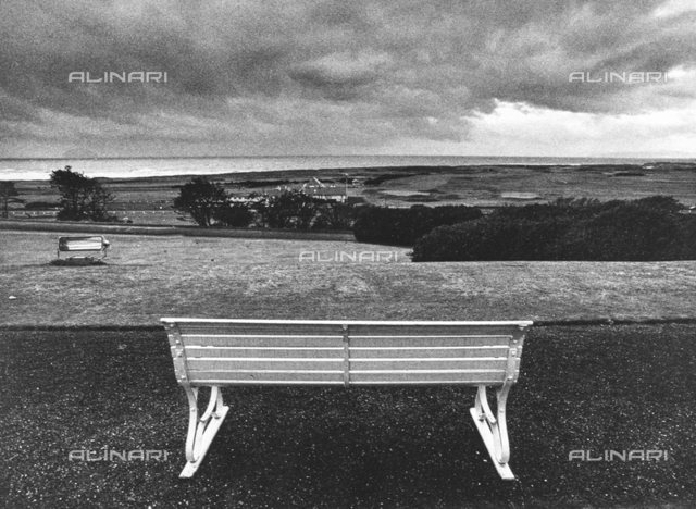 """Benches"": benches in the garden of a villa in Turnberry"