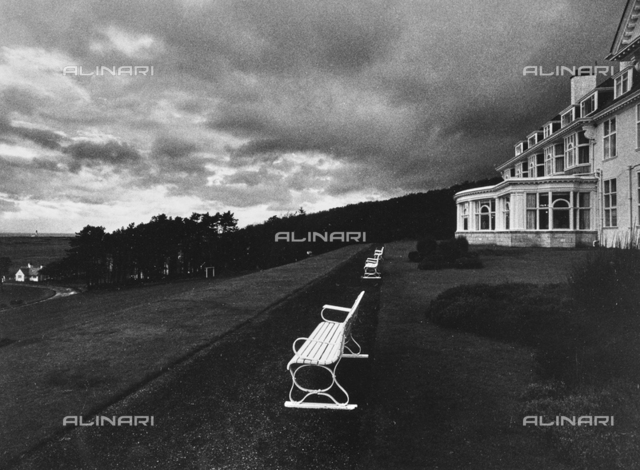 """""""Benches"""": benches in the garden of a villa in Turnberry"""