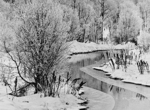 Frozen river in the Engadine