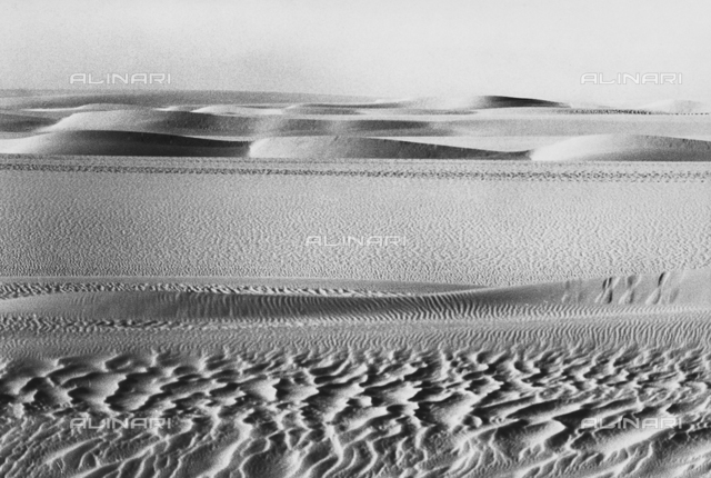 Dunes and footprints in the Teneré desert, in Niger, Africa