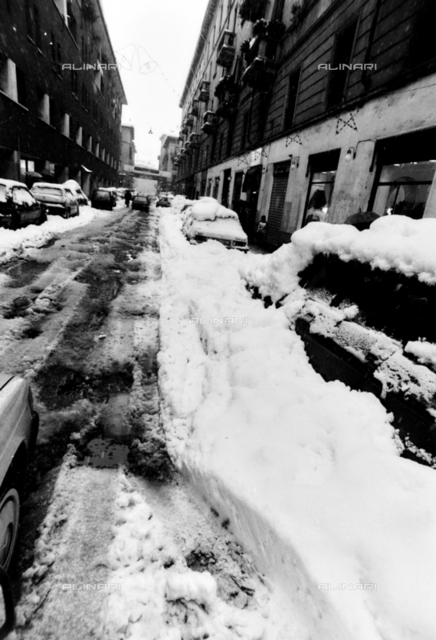 Animated view with city street after a snowfall