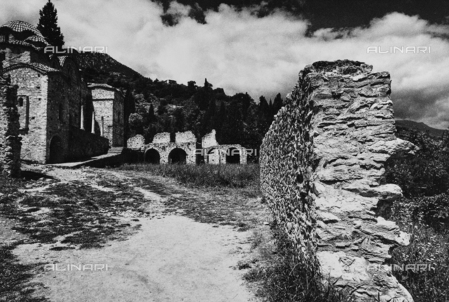 Ruins of the ancient walls of Mystras