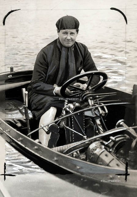 Miss M. B. Carstairs during her attempt to cross the Atlantic on her speed boat.