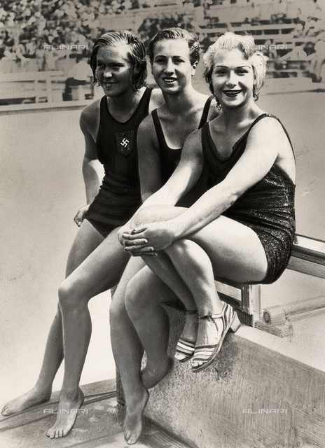 Three swimmers at the 1935 Olympic Games in Berlin