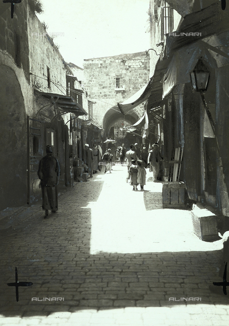 A street of a bazaar in Jerusalem.