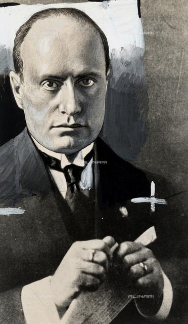 Portrait of Benito Mussolini.