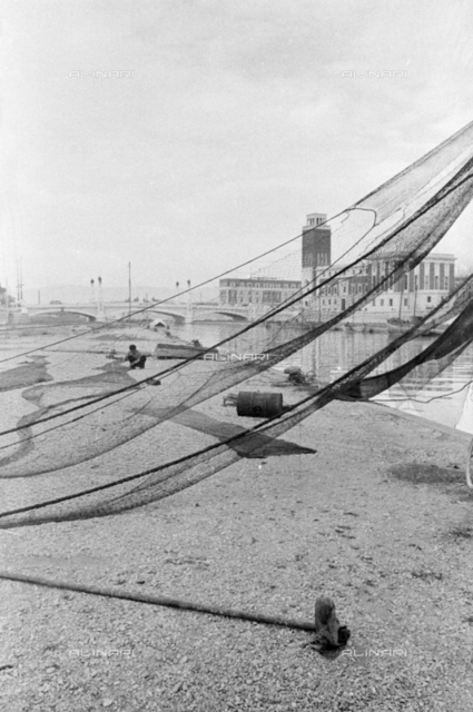 Fishing nets on the beach in Pescara