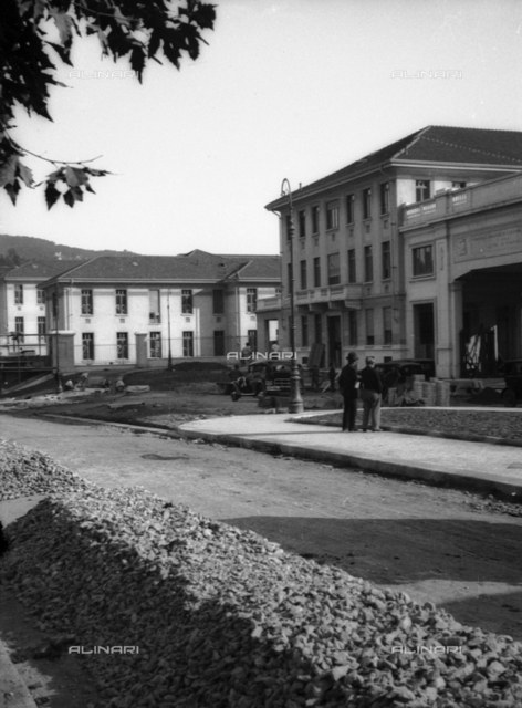 Work in front of the entrance of the Hospital Molinette, Turin