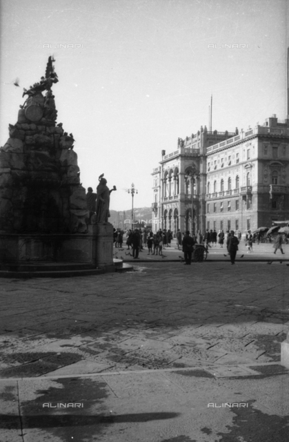 View of Piazza Unità d'Italy (formerly Piazza Grande) with the Fountain of the Four Continents and the Palace of the Prefecture in Trieste