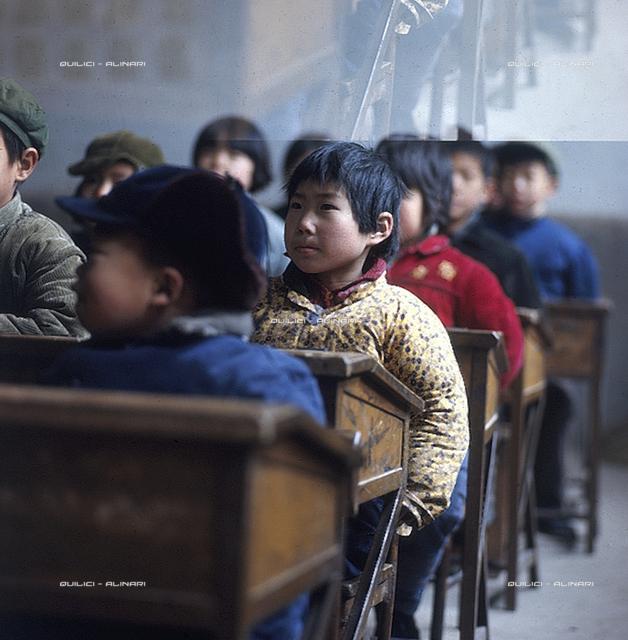 Me-Scia-u. Children in an elementary school classroom of the People's Commune Me-Scia-u