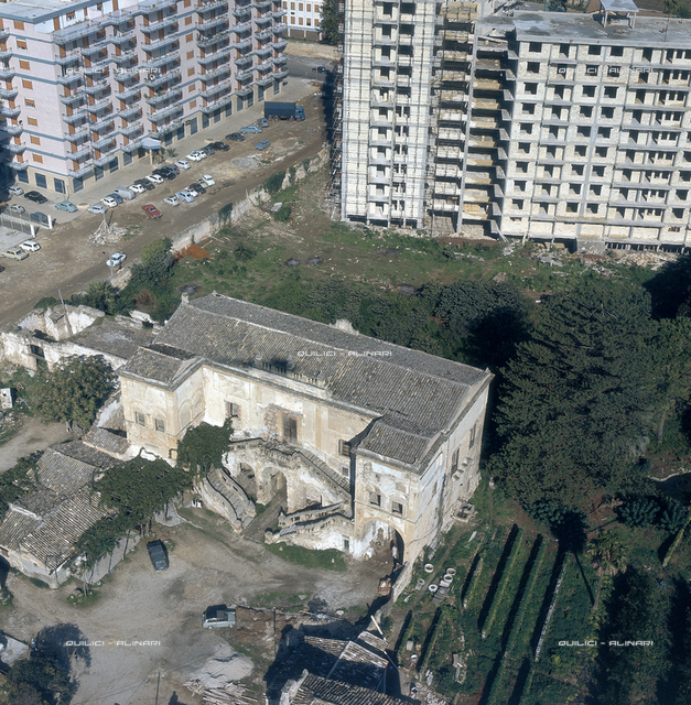 Aerial view of Palermo: Nobile villa in ruins, submerged by the surrounding buildings