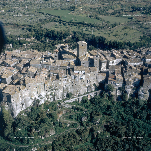 Aerial view of a town built on tufa in the Viterbese