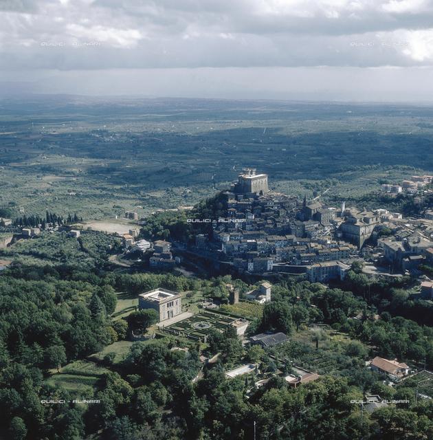 Aerial view of Soriano nel Cimino (Viterbo)