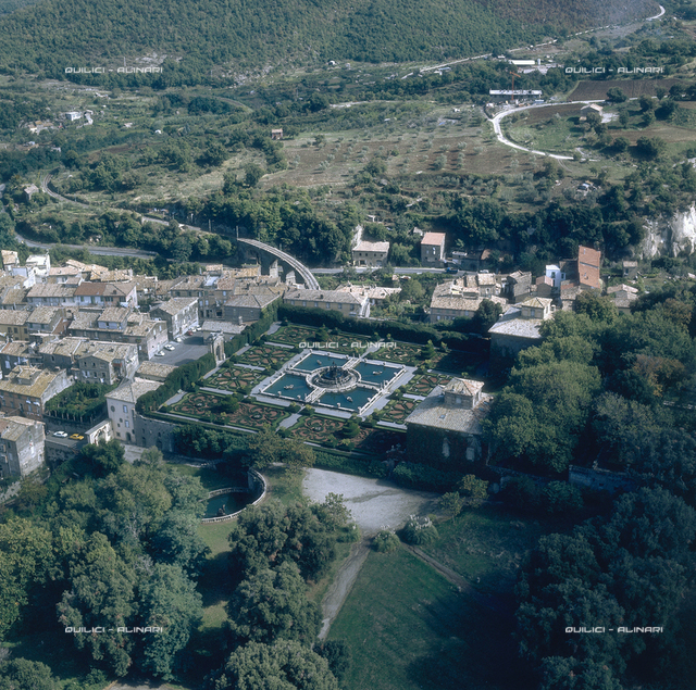 Aerial view of Bagnaia: Villa Lante with its gardens and fountains