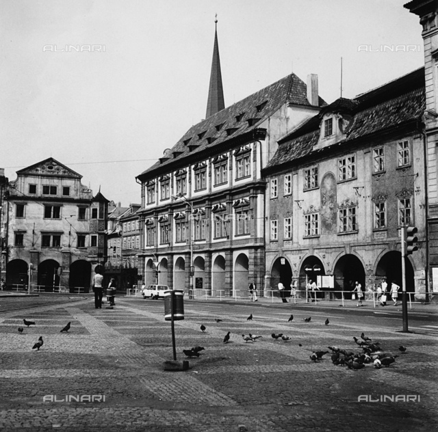 Section of a square surrounded by numerous buildings in the Malà Strana quarter of Prague