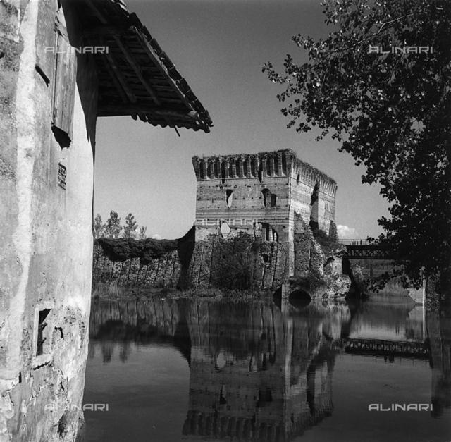 Ruins of a torret of the city walls of Bellinzona, Switzerland