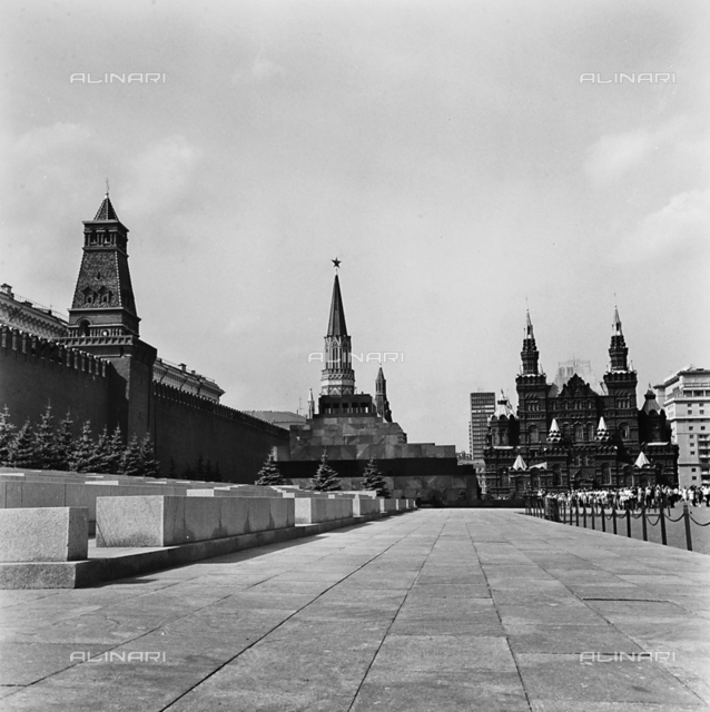 Part of Red Square in Moscow with the walls of the Kremlin and the Mausoleum of Lenin