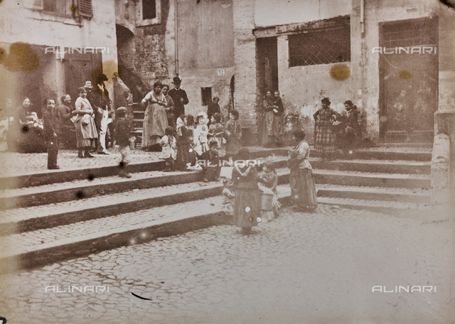 Animated view of Catalan square in the Jewish ghetto in Rome, today the square no longer exists