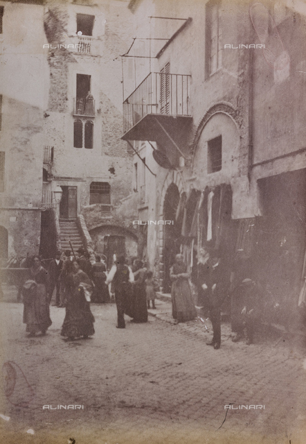 View of Rua animated square in the Jewish ghetto in Rome, today the square no longer exists