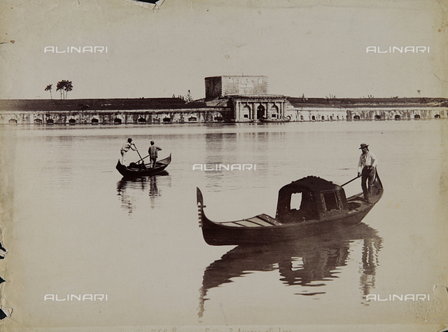Gondoliers in the lagoon of Venice