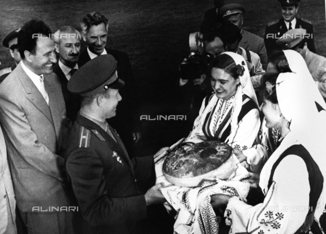 Hospitable welcome of USSR pilot-cosmonaut Yuri Gagarin in Bulgaria