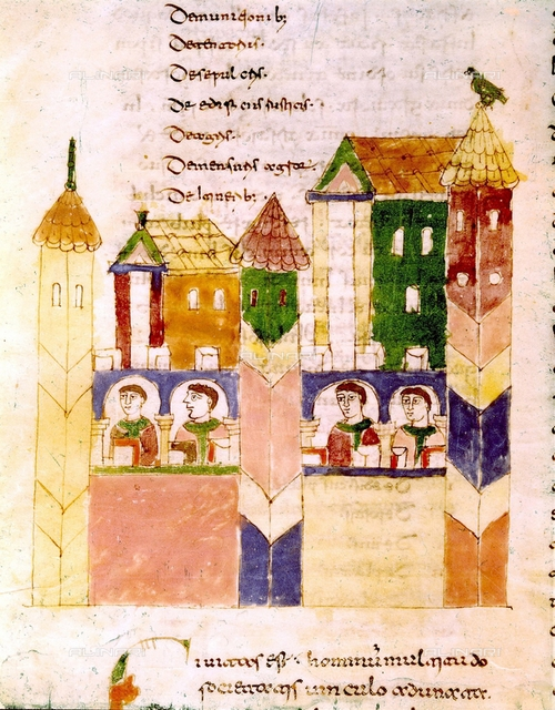 De Universo, first encyclopedia from the Middle Ages (between 842 and 847), written by Rabanus Maurus (c.780-856), German theologian and poet. Life inside a monastery, illustration of the 11th century. Archives from the Monte Cassino abbey.