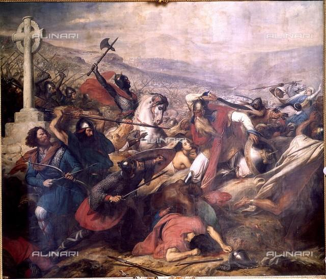 The Battle of Poitieurs on October 25 732 won by Carlo Martello, painting, Charles de Steuben (1780-1856), châteaux de Versailles et de Trianon, Versailles