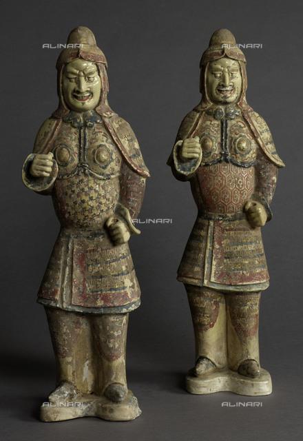Warriors. Polychrome terracotta. China, Sui dynasty (581-618). Paris, musée Cernuschi.