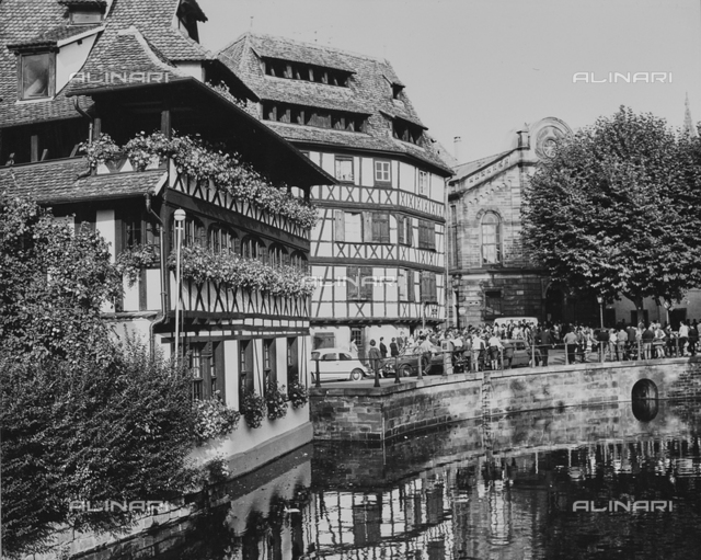 Typical houses along a canal in Strasbourg