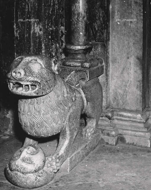 Column base lion of the entryway, Monastery of Decani, Serbia