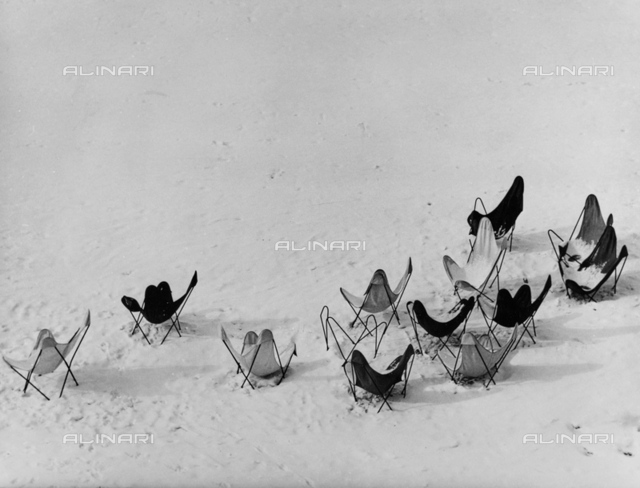 Folding chairs in the snow