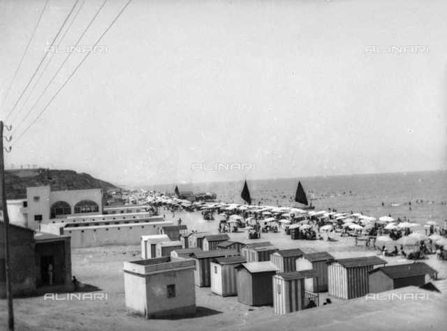 Cabins and umbrellas on the beach in Termoli