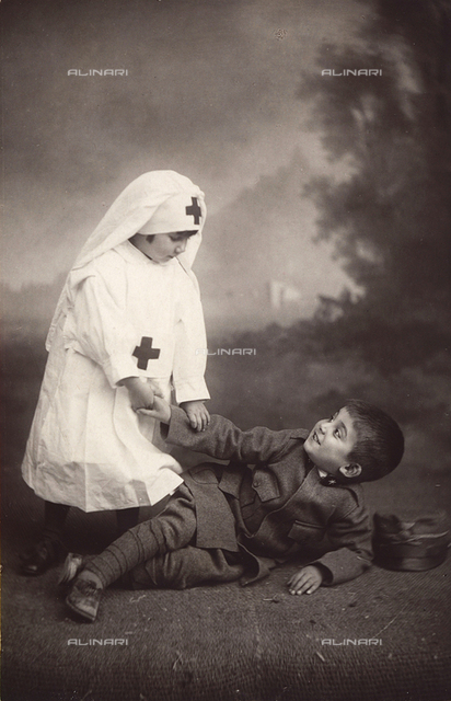 Anna and Antonio Trombetta masked as a nurse and a soldier