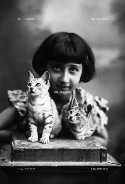 Portrait of a young girl with two cats