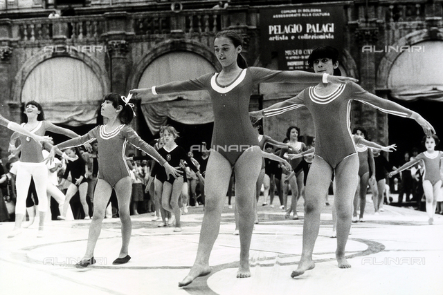 Gymnastics performance executed by some young girls during the Games of Youth in Bologna