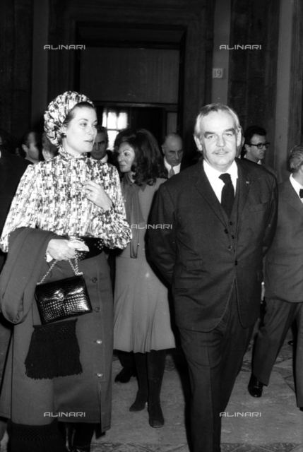 Grace of Monaco (Grace Kelly 1929-1982) with Prince Ranieri (Ranieri III 1923-2005) visiting the Capitol in Rome
